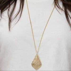 Kendra Scott Aiden Gold Long Pendant Necklace-Gold